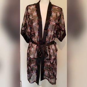 VINTAGE Circa Zooo Black Pink Robe Ribbons Belted